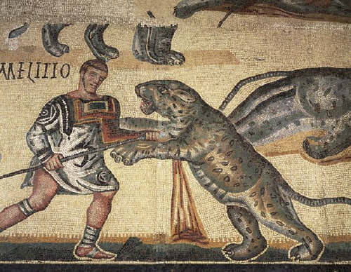 Gladiator and Leopard from Roman Mosaic of Battling Gladiators