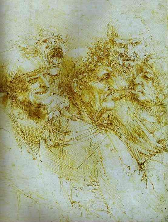 Leonardo da Vinci. Five Grotesque Heads. c.1490