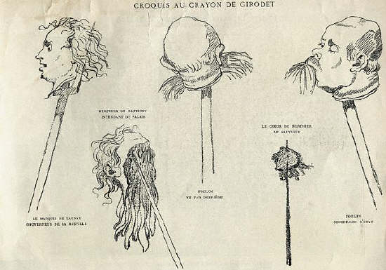 Sketch of the heads of the French nobility impaled on stakes during the French Revolution