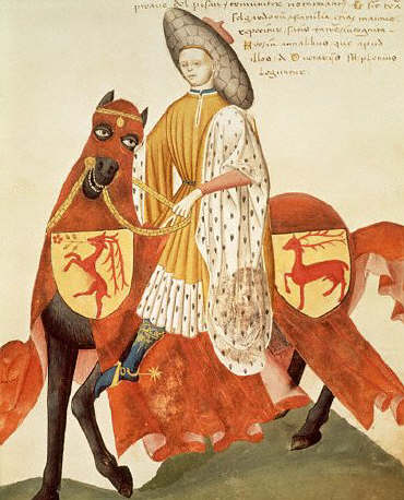 Fifteenth Century Manuscript Illumination of a Knight From the Codex Capodilista