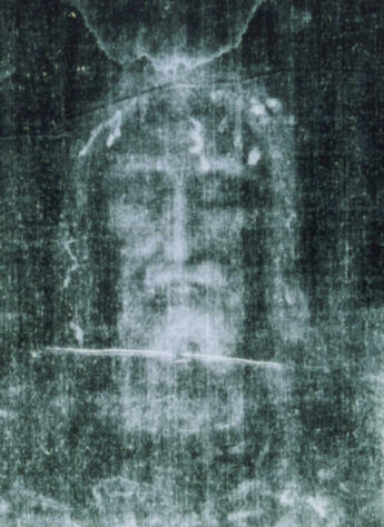 Holy shroud. Negative images of the face