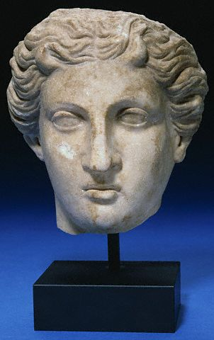 Roman Marble Head of a Goddess. Circa 2nd Century A.D.