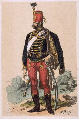 A Hussar from the Imperial and Royal Austrian army in full uniform 1790