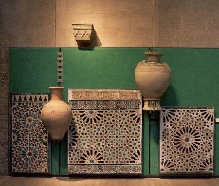 Artifacts at an exhibition of Islamic art in Granada, at the Palace of Carlos V