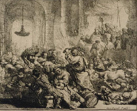Jesus Driving the Money-Changers from the Temple by Rembrandt Harmensz van Rijn 1635