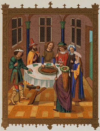 Jews celebrating the feast of Passover during the 15th century