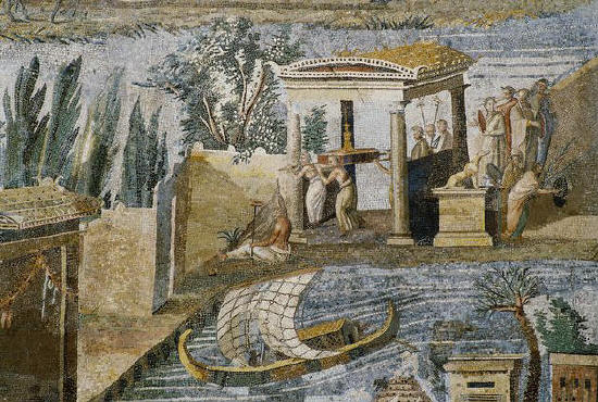 The Palestrina Mosaic shows the Nile River Delta during the flooding season. 80 B.C.