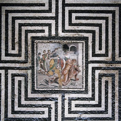 Theseus and the Minotaur Mosaic in the House of the Labyrinth at Pompeii