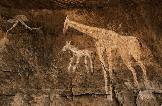 Neolithic Cave Painting  from Libya of Giraffes
