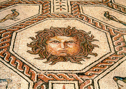 Head of Medusa, mosaic detail