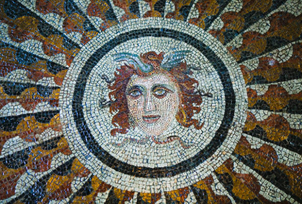 Medusa Floor Mosaic at Palace of the Grand Masters Rhodes, Greece