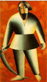 Reaper on Red Background by K. Malevich 1912