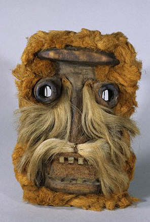 Dan Mask in the Form of a Face Adorned with Mammal Hair