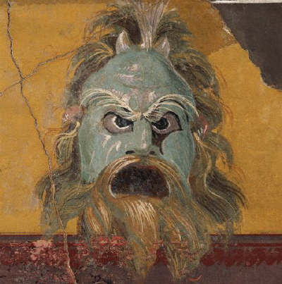 Ancient Roman Fresco Painting with Horned Mask