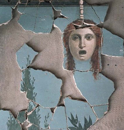 Ancient Roman Fresco Painting with Tragic Mask са. 70 A.D.