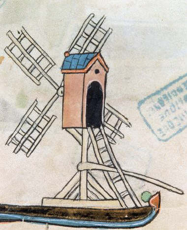 French Manuscript Illumination of a Windmill From an Obituary Calendar 13th с