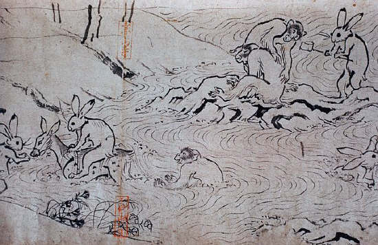 Rabbit Diving from Choju Giga, Handscrolls attributed to Toba Sojo