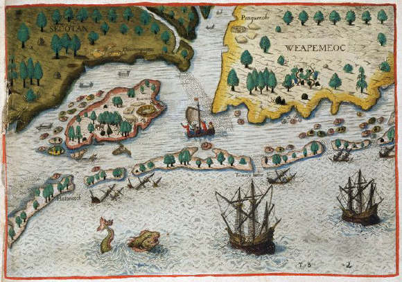 The English Arriving in Virginia by Theodor de Bry after John White 16th c