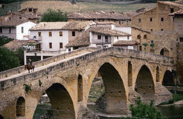 The 11th century arched bridge at the town of Punta la Reina, in Navarra, Spain