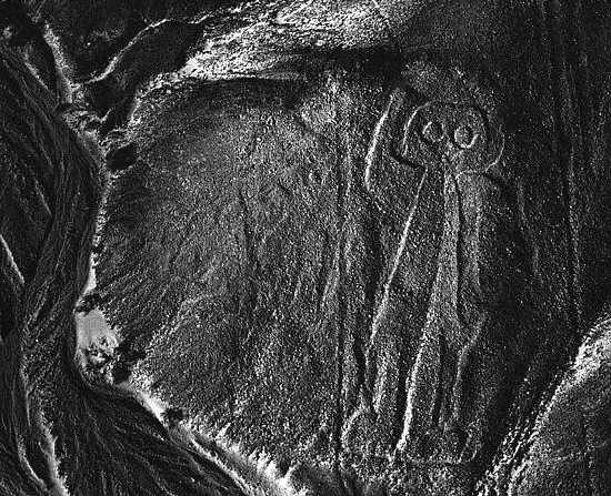 The owl man is a moon deity and appears frequently on Nazca pottery. Nazca, Peru