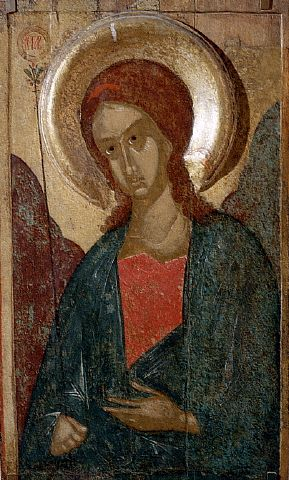 Russian Icon of The Archangel Gabriel, late 14th-early 15th century