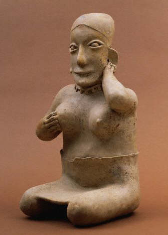 Native Central American Sculpture of a Seated Female Figure