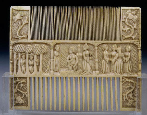 This Gothic ivory comb depicts scenes from the story Susanna and the Elders 15th c
