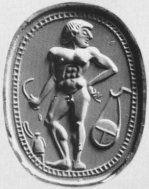 An athlete with strigil, oil bottle before him, discus hanging behind