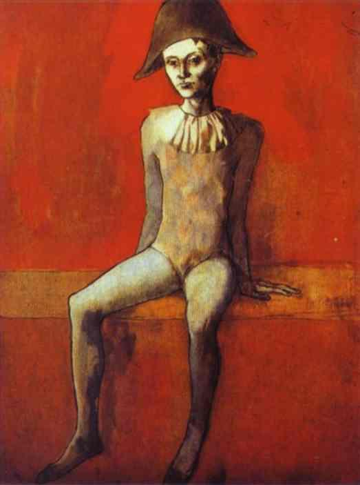 Harlequin Sitting on a Red Couch by Pablo Picasso. 1905