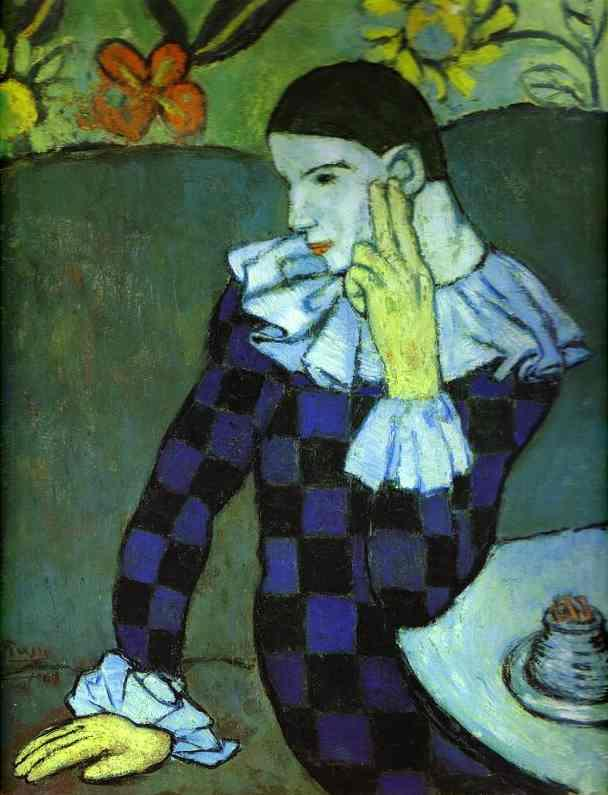 Leaning Harlequin by Pablo Picasso. 1901