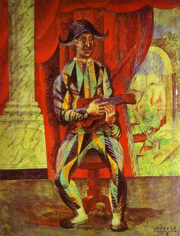 Harlequin with a Guitar by Pablo Picasso. 1918