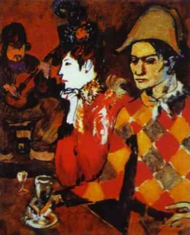 In 'Lapin Agile' or Harlequin with a Glass by Pablo Picasso. 1905