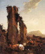 Peasants with Cattle by a Ruined Aqueduct by Nicholas Berchem
