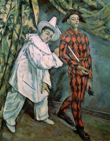 Pierrot and Harlequin (Mardi Gras) by Paul Cezanne 1888