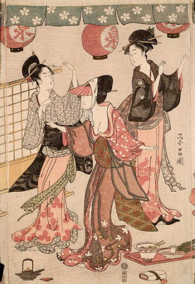 Women's Party at a Teahouse by Hosoda Eisho 1794-1798