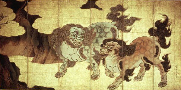 Lion Dogs by Kano Eitoku ca.1573-1615
