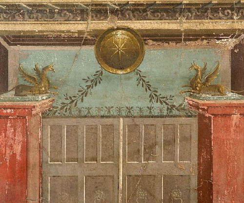 Roman Fresco from the Oplonti Villa in Pompeii Depicting a Doorway with Griffins 79 AD