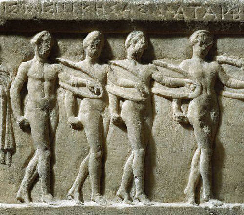 Bas-Relief Sculpture of Nude Warriors Dancing the Pyrrhichios 4 B.C.