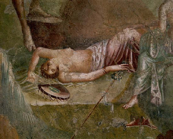 Sleeping Maenad Fresco Painting From the House of the Citharist at Pompeii