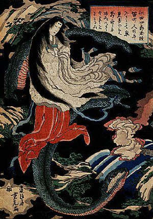 Osaka print shows a female magician in a cave, riding on her familiar, a serpent