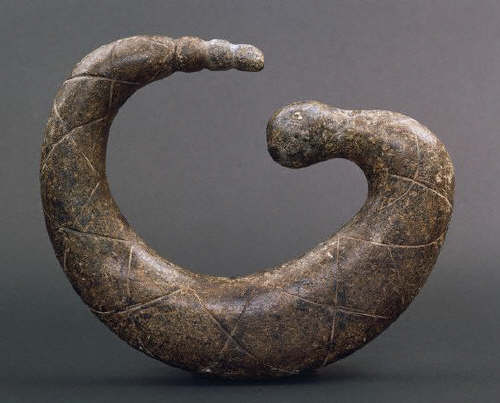 California Native American Carved Coiled Serpent with Incised Diamond Pattern са.10th c