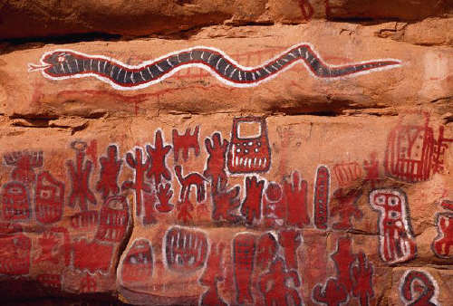 Paintings on Circumcision Rock in the Dogon village of Songo, Mali