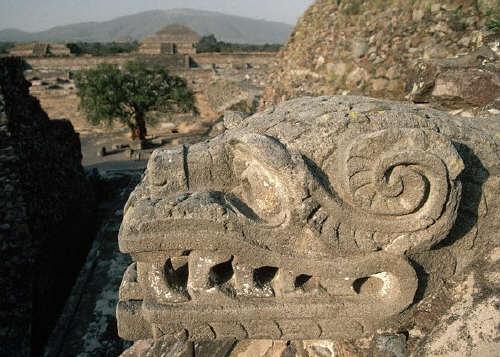 Stone Serpent Head at Temple of Quetzalcoatl, Mexico
