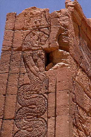 A Kush civilization relief sculpture of a half-lion, half-snake being at Lion Temple in Naga, Sudan
