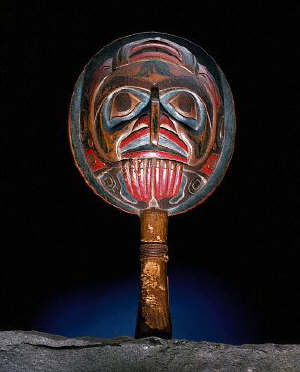 Tsimshian Shaman Rattle with Carved Hawk Face