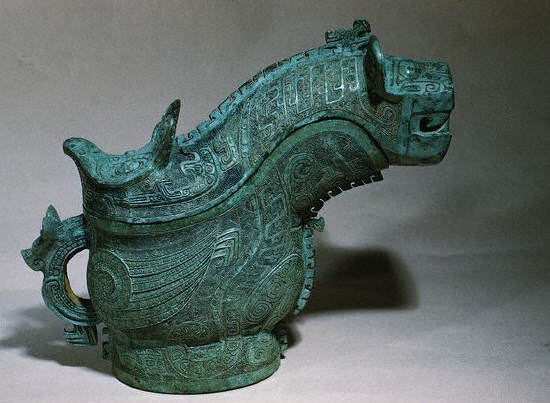 Shang Dynasty Bronze Ritual Vessel Depicting a Monster and an Owl