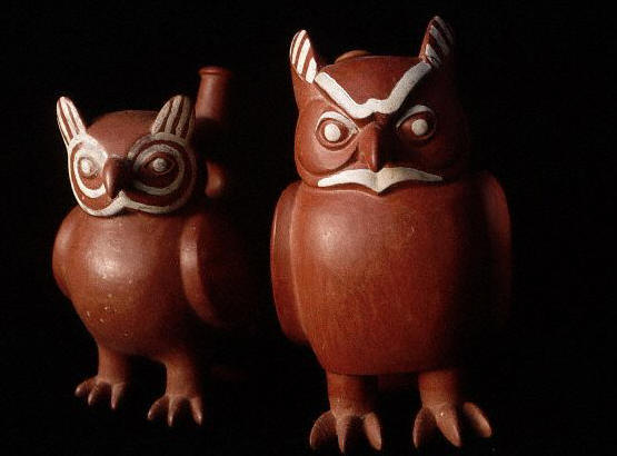Mochica Clay Pots in the Form of Owls