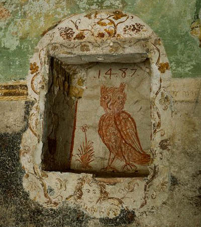 Fresco Painting of Owl from Chiesa di San Nicolo 1487