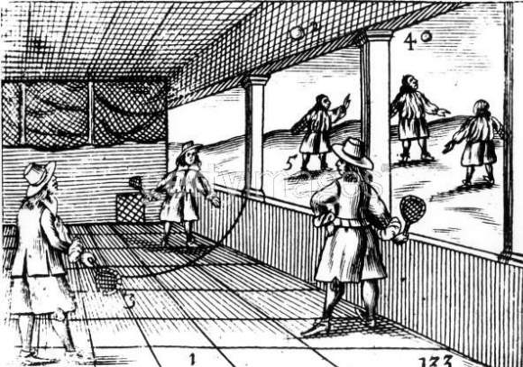 Early Tennis. An engraving of a tennis match from 1659