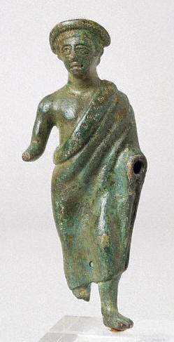 Etruscan bronze male figure wearing a toga third century B.C.